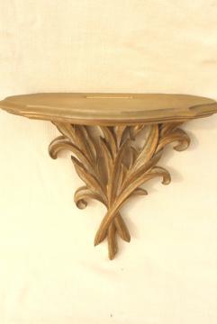 small ornate vintage gold shelf, Syroco Syrowood plate holder wall bracket