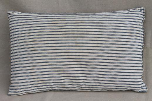 Small Pillow W Primitive Old Blue Striped Ticking
