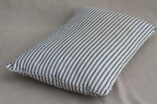small pillow w/ primitive old blue striped ticking, vintage feather pillow