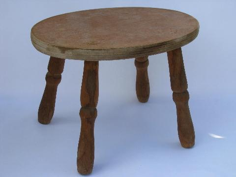 Small Primitive Wood Footstool Old Wooden Child S Size Stool Seat