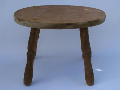 small primitive wood footstool, old wooden child's size stool seat