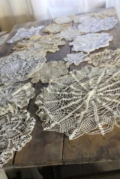 small round crochet lace doilies, handmade crocheted lace doily lot
