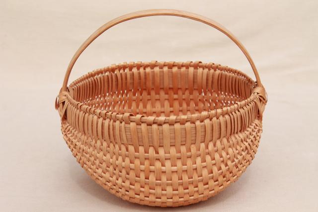 Handmade Small Baskets : Small round egg basket handmade split wood splint woven