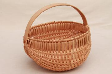 small round egg basket, handmade split wood splint woven basket, country primitive