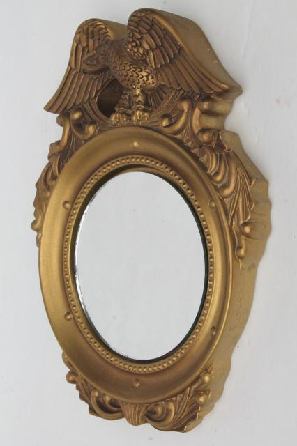 Small round mirror in gold plaster federal eagle frame for Small gold framed mirrors
