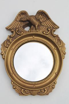 small round mirror in gold plaster Federal eagle frame, vintage chalkware framed wall mirror