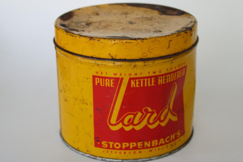 small round tin lard can Stoppenbach's Jefferson Wisconsin, mustard gold & red