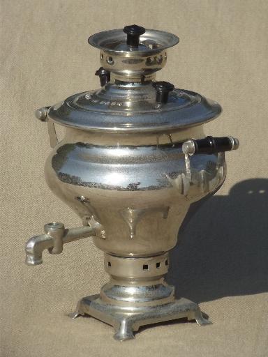 Ussr Mark Nickel Silver Plated Coffee Urn