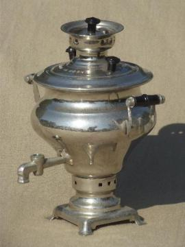 small samovar w/ vintage USSR mark, nickel silver plated coffee urn