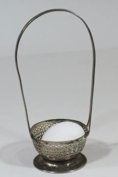 small silver plate basket table server, jam pot holder or egg basket