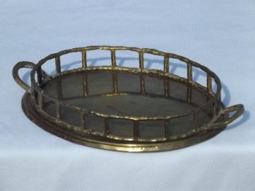 small solid brass bamboo rim tray w/ handles, made in India vintage