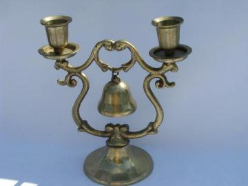 small solid brass gong bell on stand, for table or store counter