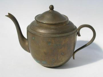 small solid brass teapot, tea for one or two