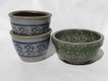 small stoneware bowls, green & blue spongeware, child's kitchen size