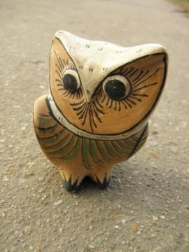 small vintage Tonala owl, hand-painted Mexican art pottery
