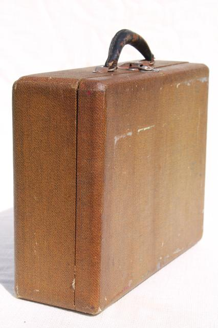 small vintage suitcase or school case, hard sided train case ...