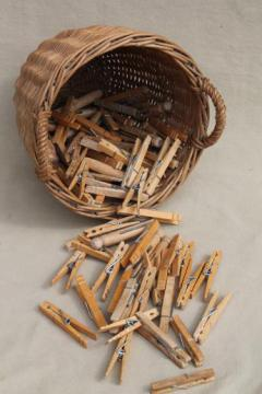small wicker barrel shape laundry basket w/ vintage wooden clothespins