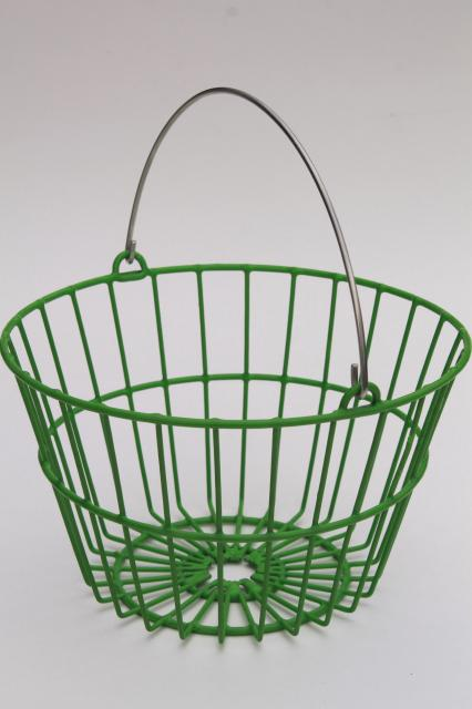 small wire egg basket, vintage style new farm garden chicken egg collecting basket