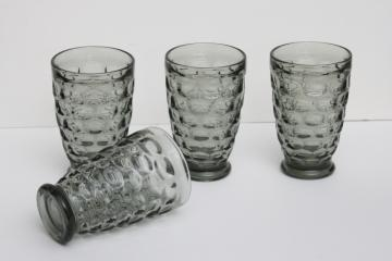 smoke grey vintage glass tumblers, thumbprint pattern Yorktown Sundown Federal glass