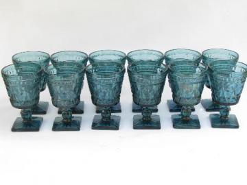 smoky blue glass Park Lane pattern stemware, vintage water / wine glasses