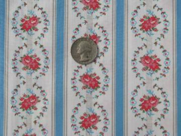 smooth polished cotton pillow ticking fabric, old roses stripe print