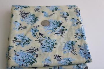 smooth soft vintage cotton t-shirt knit fabric, blue & cream girly floral print