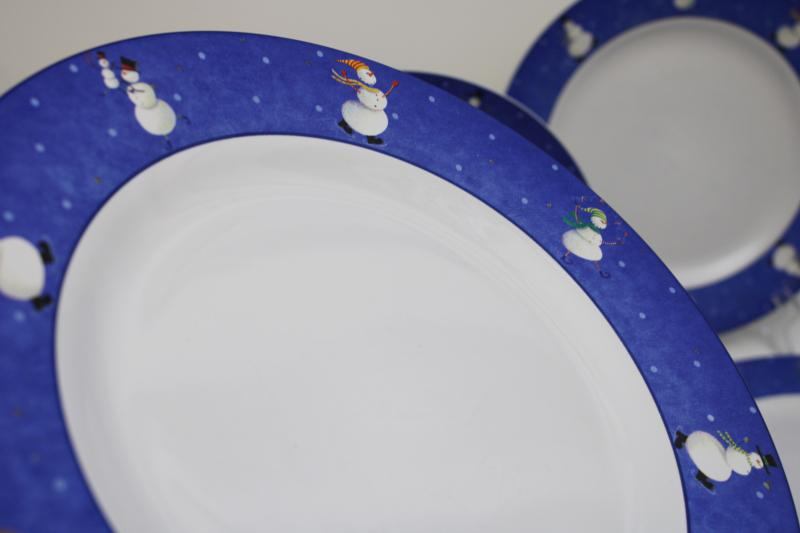 snowman pattern winter holiday dishes, Sakura Snow Pals Oneida china dinner plates