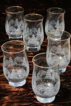 snowy forest Christmas glasses, Libbey tulip shape tumblers w/ white pine trees