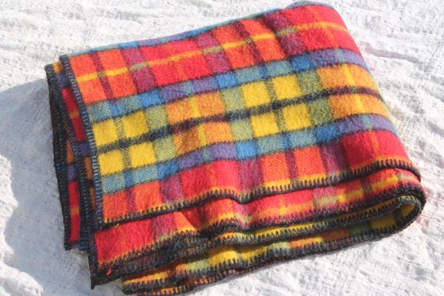 soft acrylic stadium blanket / throw, vintage camp blanket red tartan plaid
