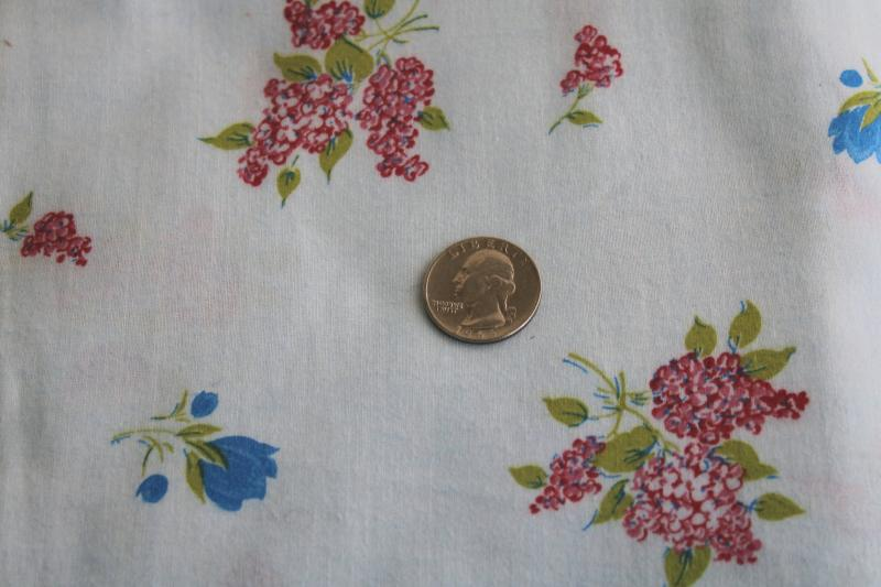 soft brushed cotton fabric, vintage fabric w/ pink lilacs, tulips floral print