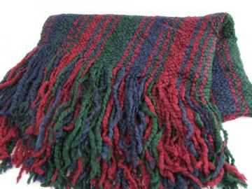 soft chunky woven yarn afghan throw blanket, navy blue, wine, forest green