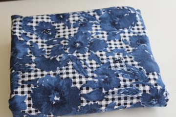 soft cotton / spandex knit fabric, indigo blue floral houndstooth print