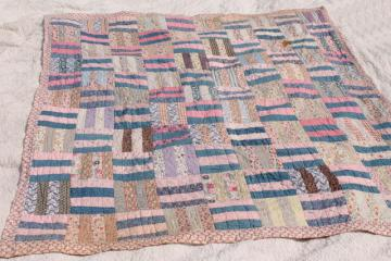 soft faded vintage patchwork quilt w/ old cotton fabric prints, romantic prairie girl style