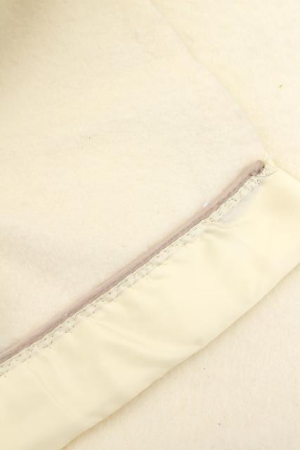 soft fuzzy ivory white plush bed blankets, vintage acrylic / poly warm & thick