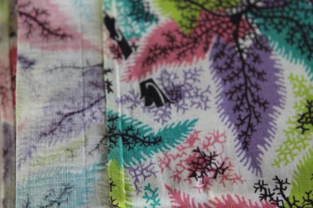 soft lightweight cotton fabric, 1960s vintage tropical palms print preppy colors