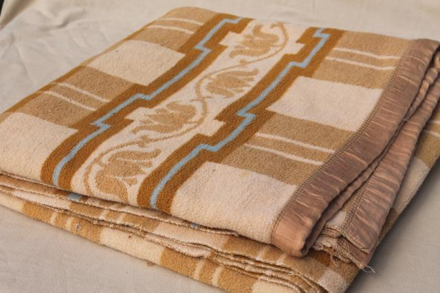 soft old cotton camp blanket, 1940s or 50s vintage tan brown, ivory, blue