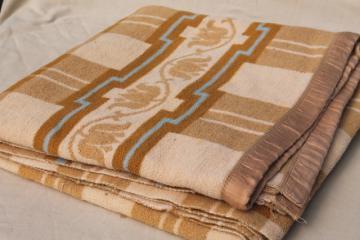 soft old cotton camp blanket, 1940s or 50s vintage tan brown, ivory, blue