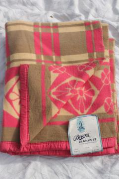 soft plush vintage cotton rayon camp blanket w/ original Beacon paper label