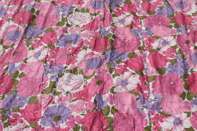 soft puffy vintage flowered cotton comforter, tied quilt w/ pink & lavender flowers