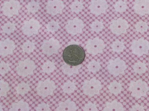 soft thick vintage pure cotton flannel fabric, lavender-pink flowers