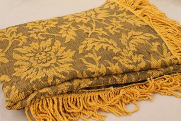 soft vintage cotton bedspread or sofa cover, grey & mustard gold brocade w/ fringe