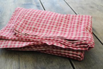 soft vintage cotton comforter or duvet cover, barn red & white checked plaid fabric