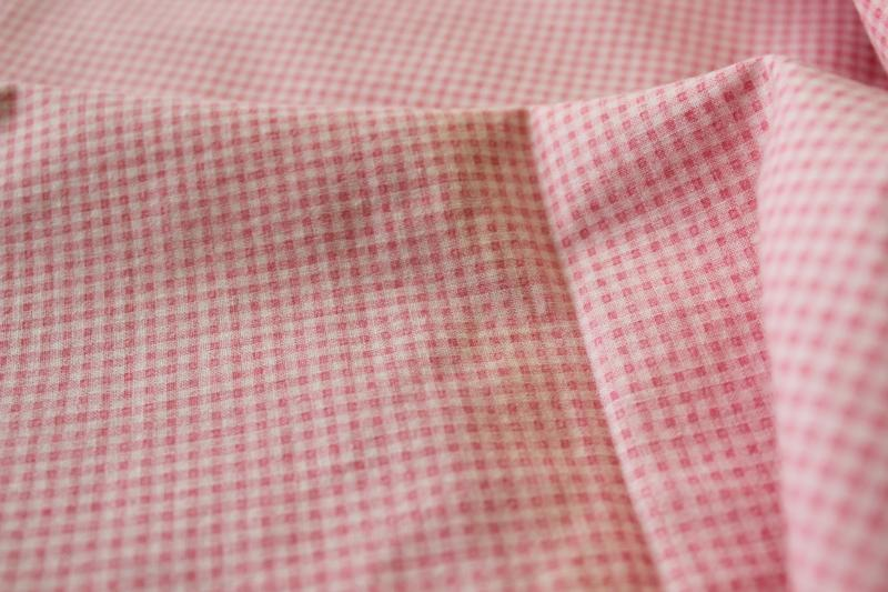 soft vintage cotton queen size comforter covers, pink & white mini checked gingham print fabric