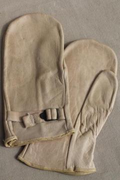 soft vintage deerskin leather chopper mittens for farmer, woodsman, hunter