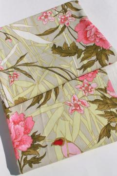 soft washed cotton upholstery / slipcover fabric, tropical flowers, grass & birds