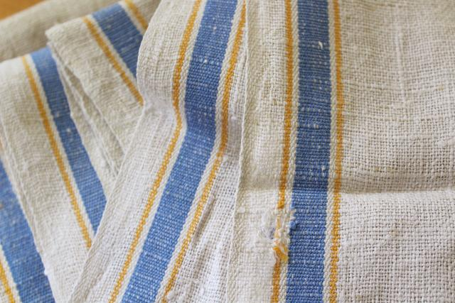 soft washed linen towels, vintage kitchen dish drying towels blue stripe