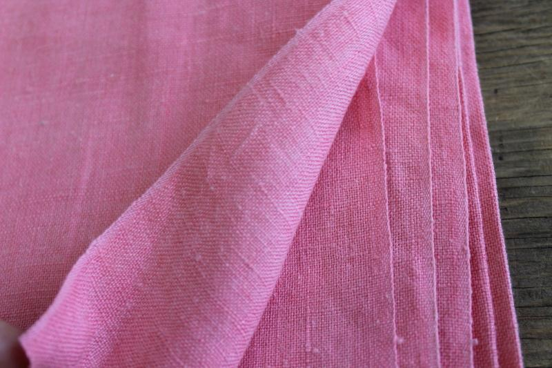 soft washed pure linen fabric, vintage sewing material rose pink solid color