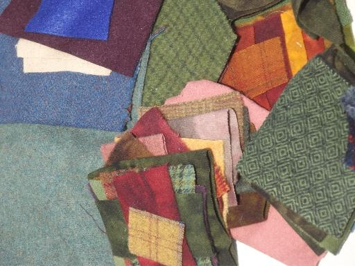 soft wool fabric for penny rugs or quilting, small quilt blocks & pieces