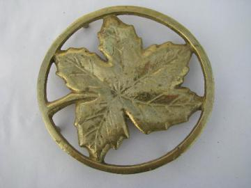 solid brass autumn leaf vintage kitchen or tea table trivet