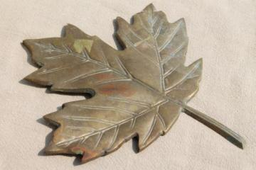 solid brass autumn leaf wall plaque or door hanging, tarnished old brass fall decor
